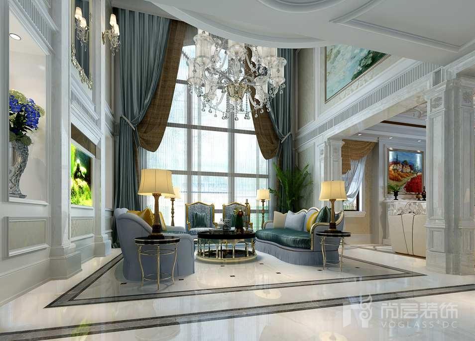 红橡墅新古典客厅别墅装修效果图