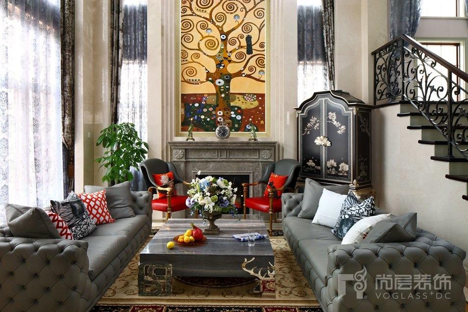 东方普罗旺斯新古典客厅别墅装修实景图