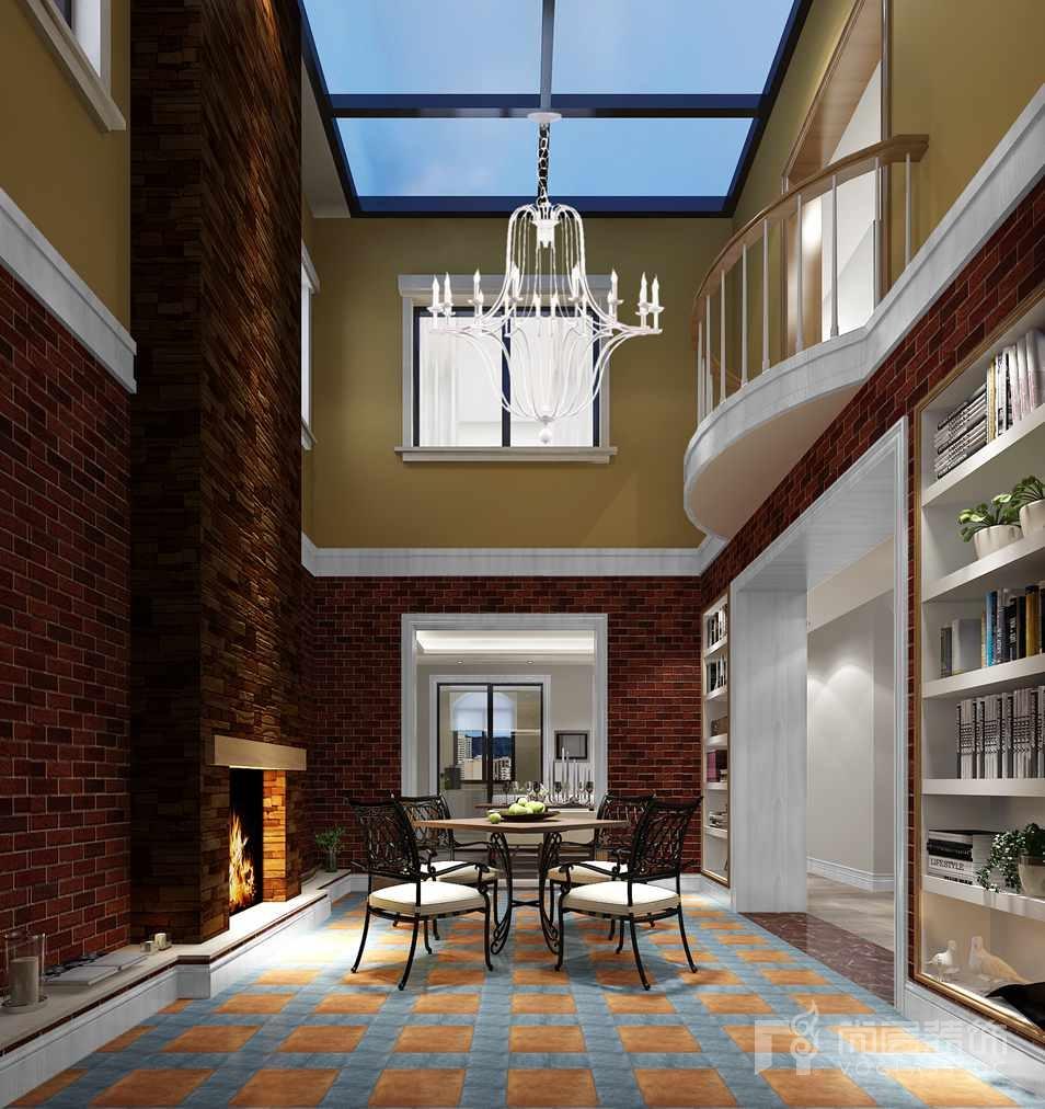 红橡墅一层中庭别墅装修效果图