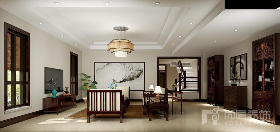 红橡墅中式客厅别墅装修效果图