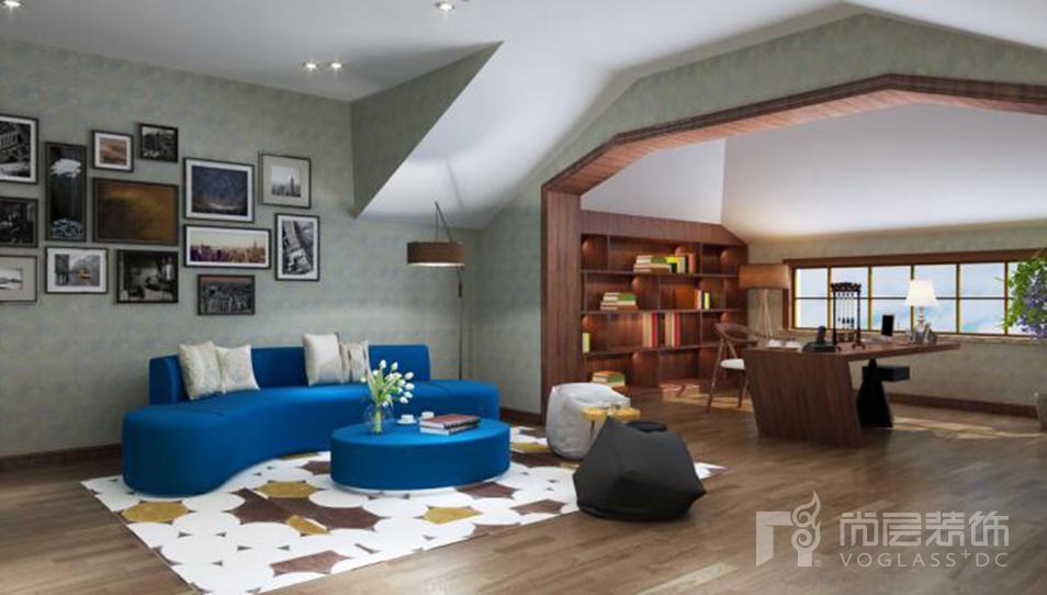 中海瓦尔登湖北欧起居室别墅装修效果图