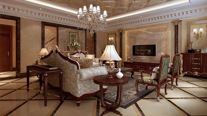 北京新古典风格客厅周逸别墅装修案例_样板间效果图