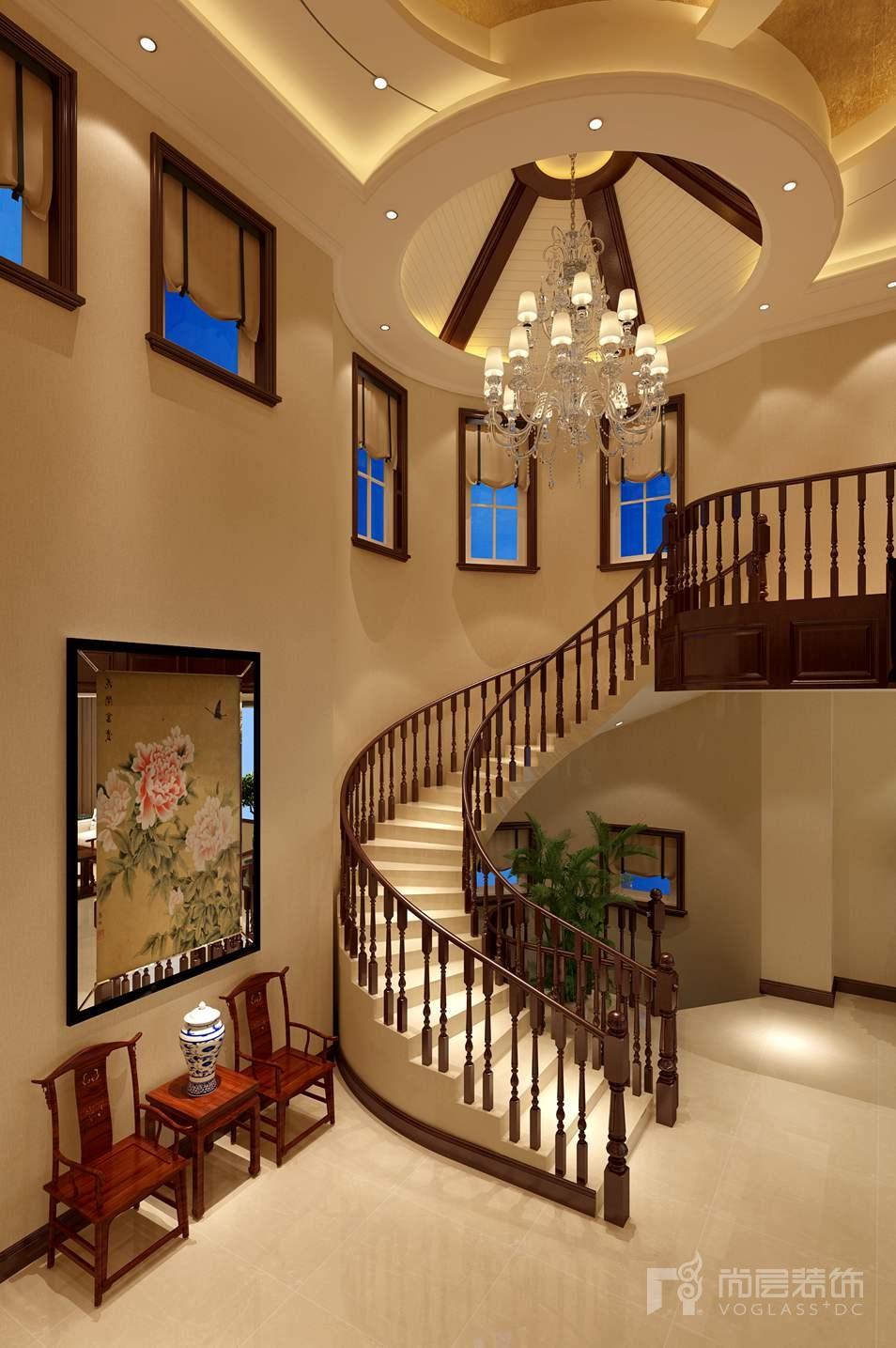 莱茵山新中式楼梯区别墅装修效果图