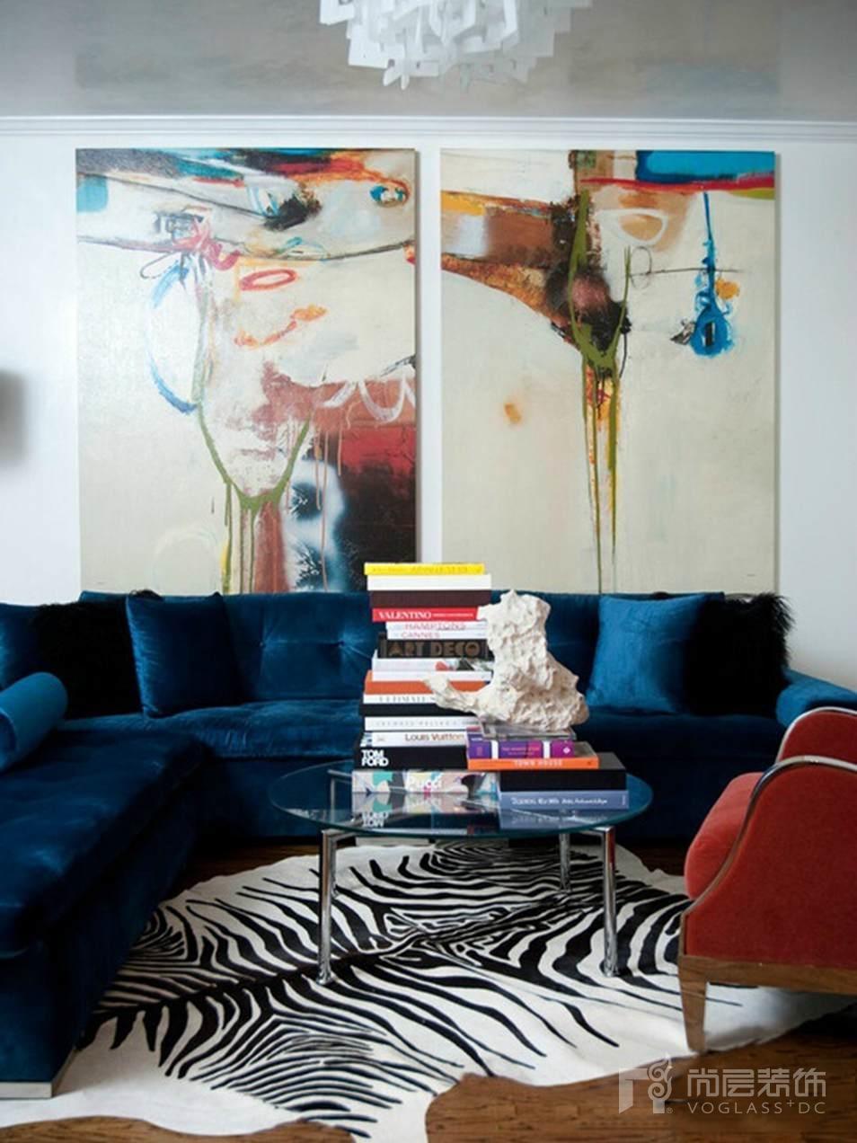 尚层别墅软装配饰红+蓝色设计,让空间充满活力