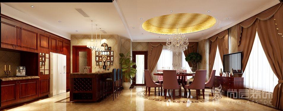 远洋傲北美式餐厅别墅装修效果图