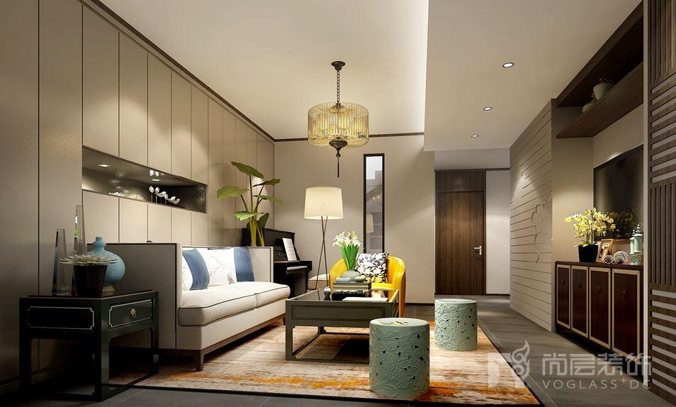 尚峰尚水新中式起居室别墅装修效果图