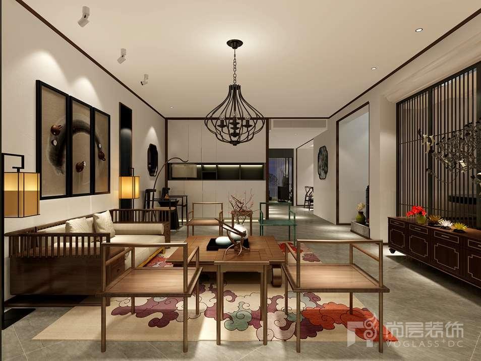 尚峰尚水新中式客厅别墅装修效果图