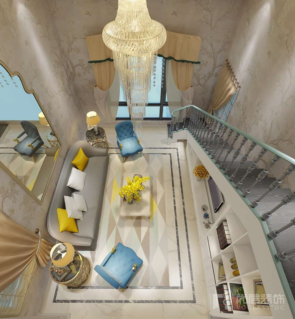 远洋天著法式客厅别墅装修效果图