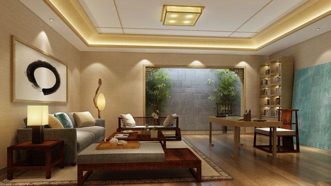 北京院子新中式会客厅别墅装修效果图
