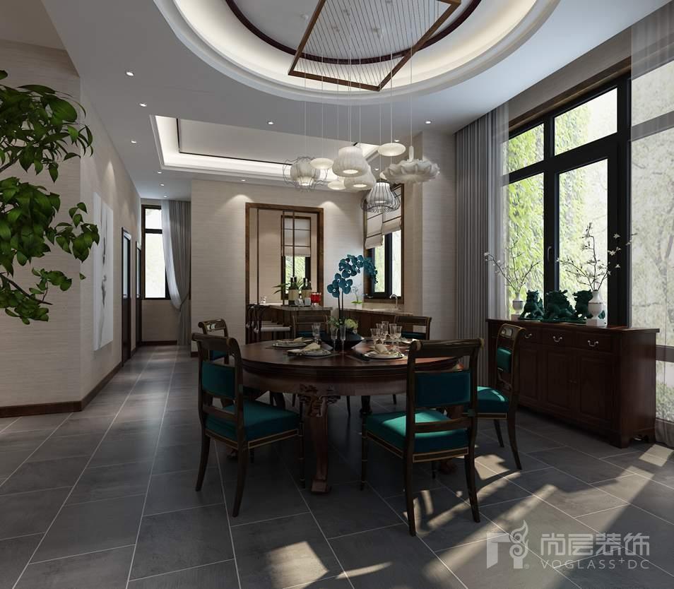 北京院子新中式餐厅别墅装修效果图