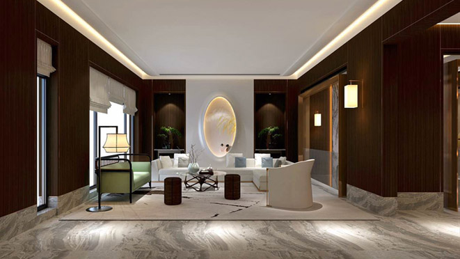 泰禾一号院新中式客厅别墅装修效果图