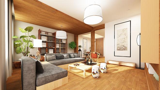 中海尚湖现代简约客厅别墅装修效果图
