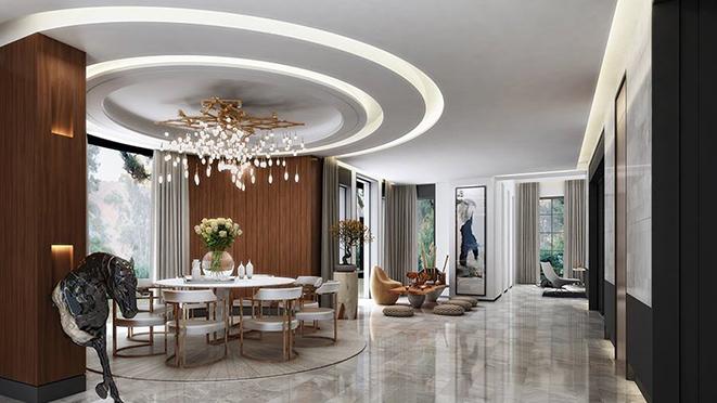 绿城桃花源别墅装修设计案例-Art Deco风格-杭州尚层装饰