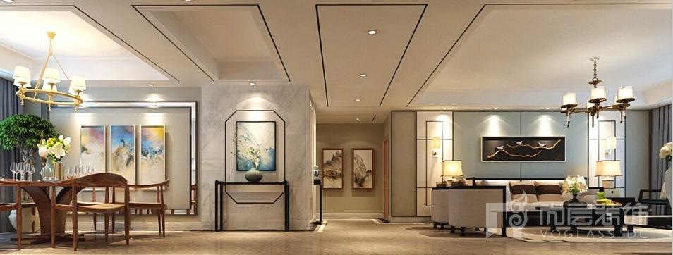 新新逸墅新中式客餐厅别墅装修效果图