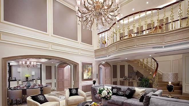 别墅装饰设计-客厅-新古典主义风格-杭州尚层装饰