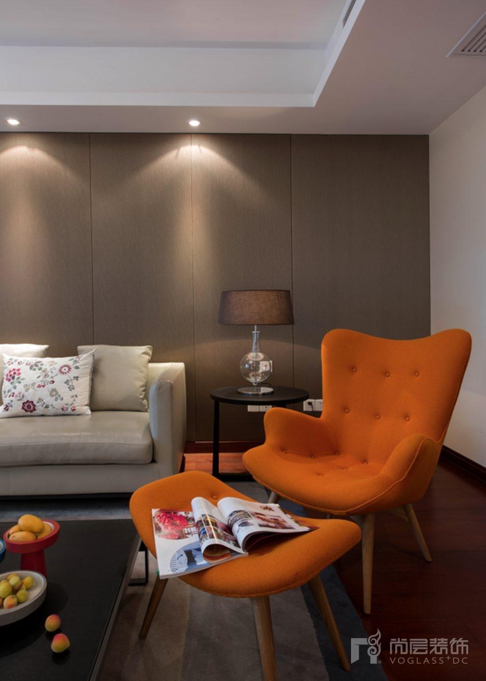 尚层别墅装修室内设计-橙色