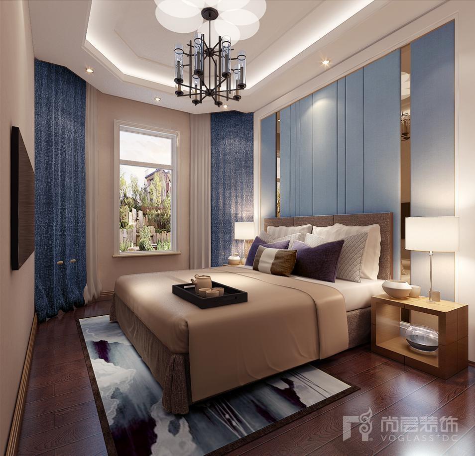 上京王府二层卧室简美别墅装修效果图