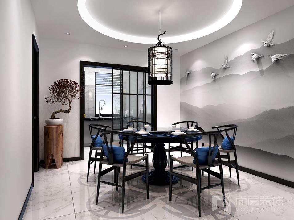 远洋天著新中式餐厅别墅装修效果图