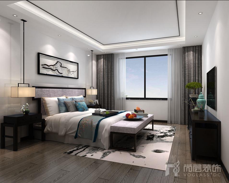远洋天著新中式地下一层卧室别墅装修效果图