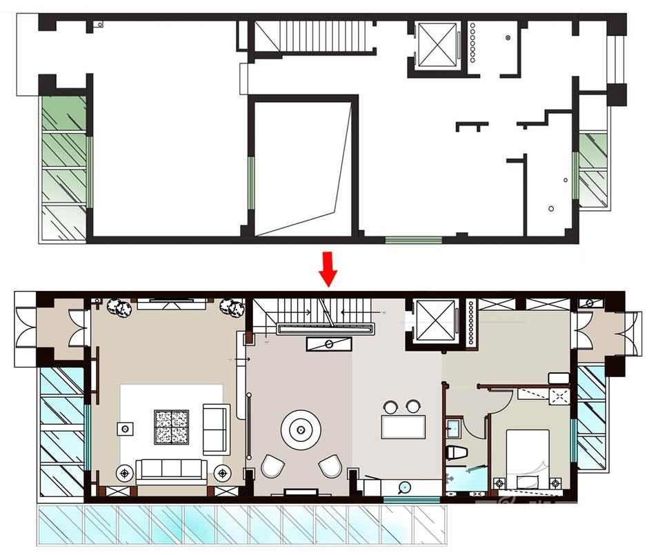 尚层装饰远洋天著别墅装修一层空间规划
