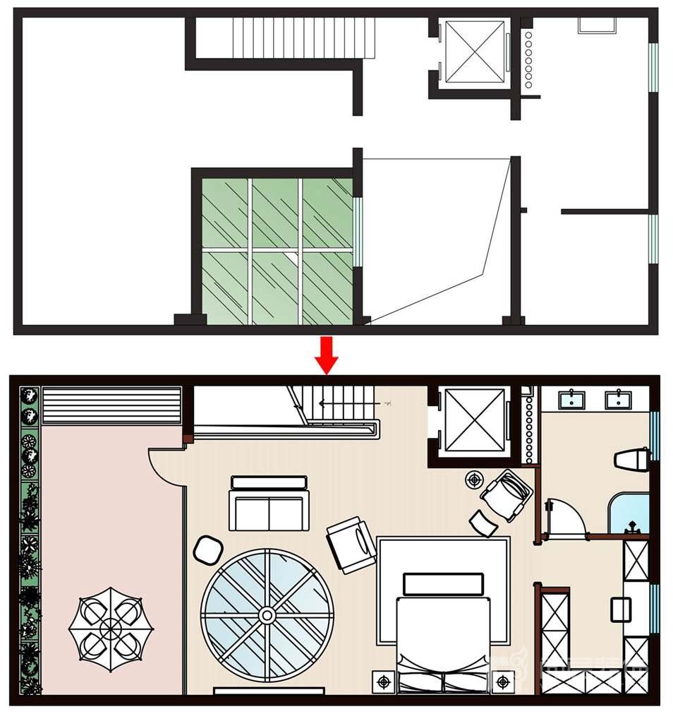 尚层装饰远洋天著别墅装修三层空间规划