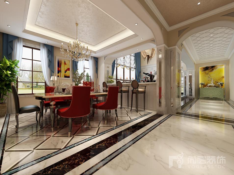 红橡墅餐厅欧式新古典别墅装修效果图