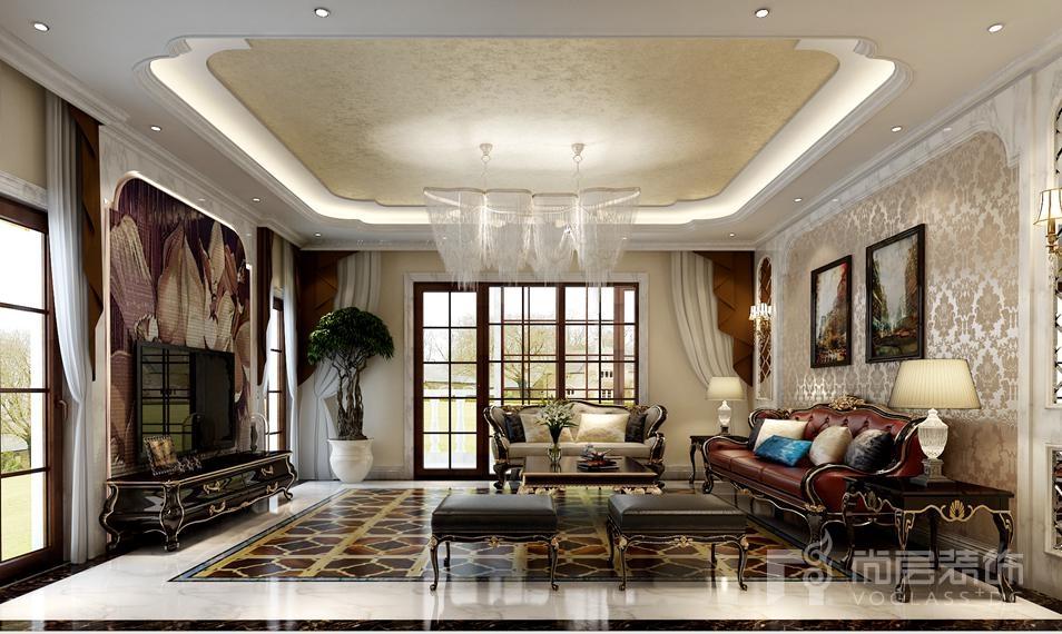 红橡墅欧式新古典客厅别墅装修效果图