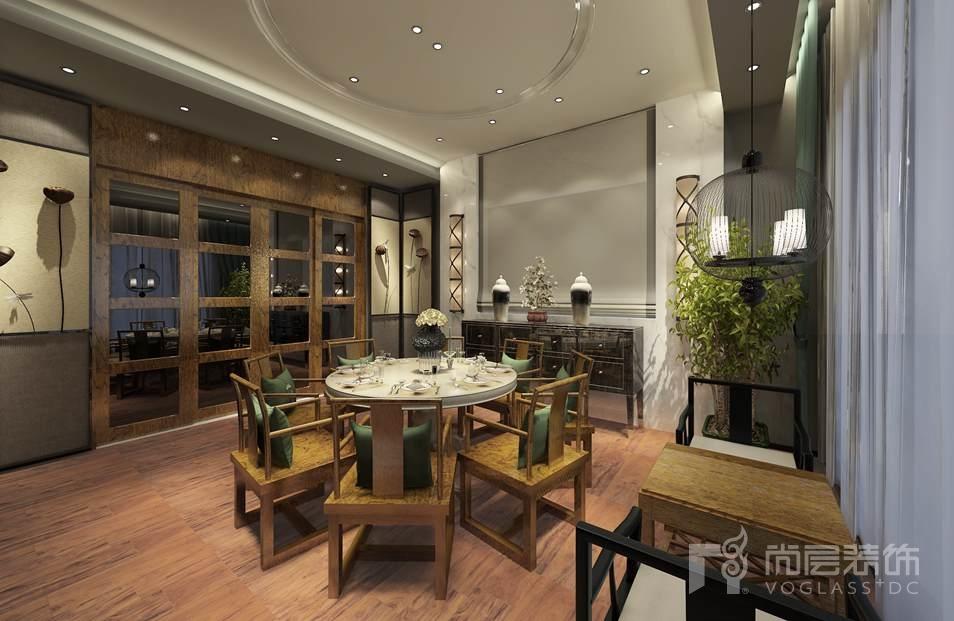 天恒别墅山新中式餐厅别墅装修效果图