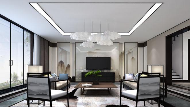 康城暖山新中式家庭室别墅装修效果图