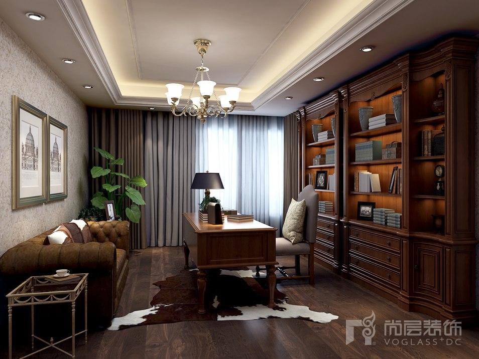 北辰香麓美式书房别墅装修效果图