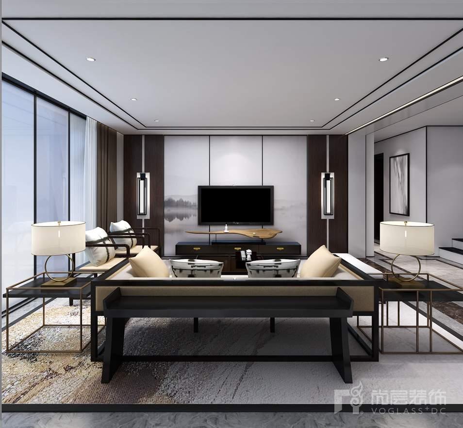 康城暖山新中式客厅别墅装修效果图