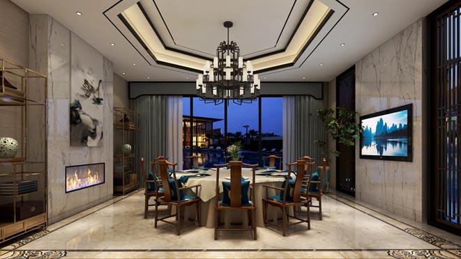 棕榈滩新中式餐厅别墅装修效果图