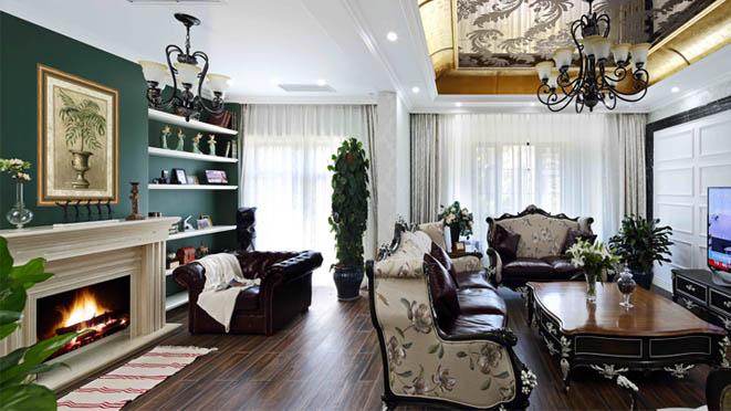 君山高尔夫美式客厅别墅装修效果图