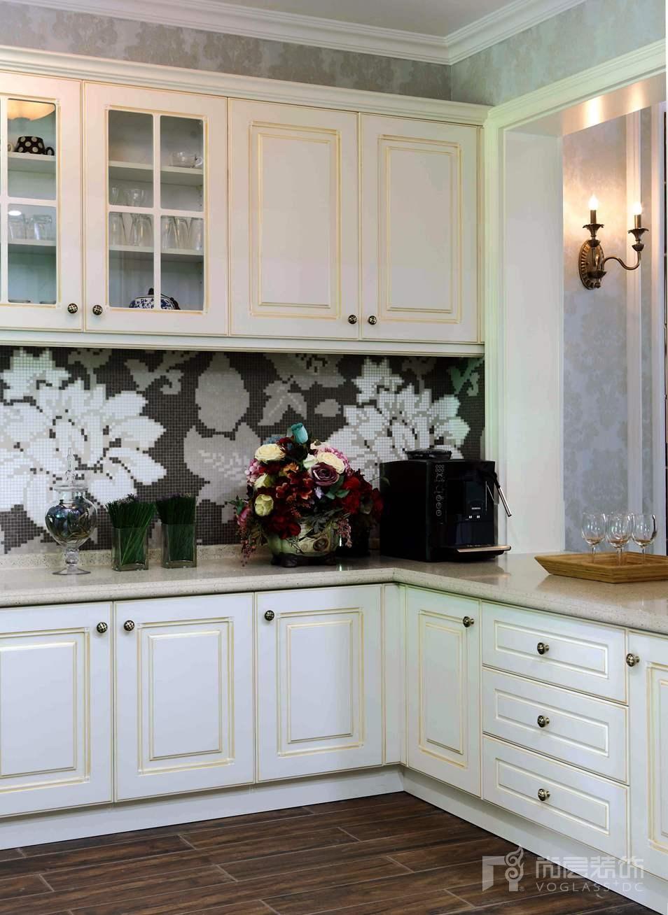 君山高尔夫美式厨房别墅装修实景图