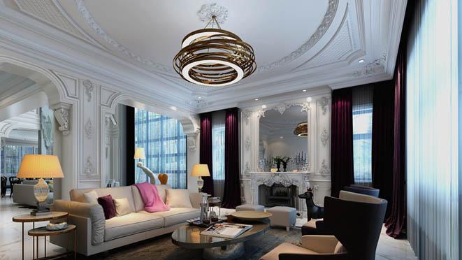 红橡墅现代巴洛克客厅别墅装修效果图