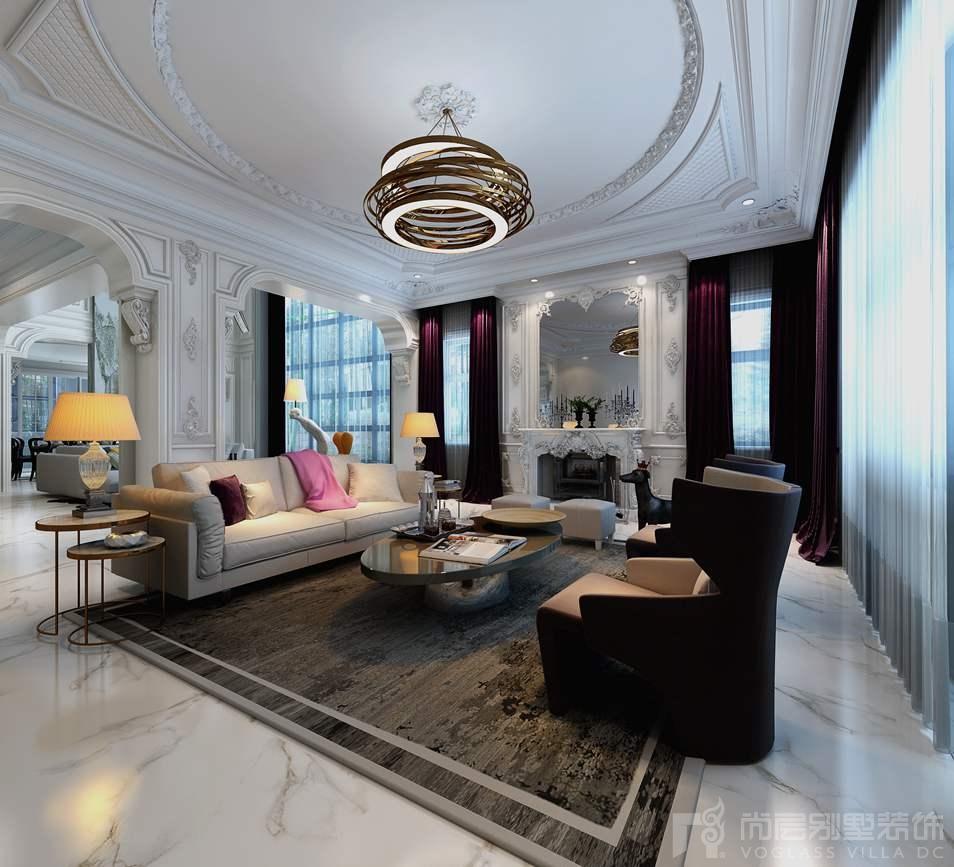 红橡墅现代巴洛克起居室别墅装修效果图