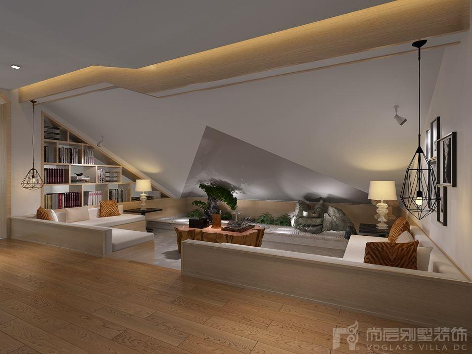 红橡墅现代巴洛克阁楼别墅装修效果图