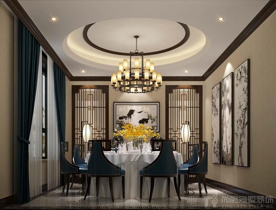 延庆别墅新中式餐厅别墅装修效果图