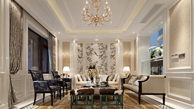 中海尚湖世家法式客厅别墅装修实景图