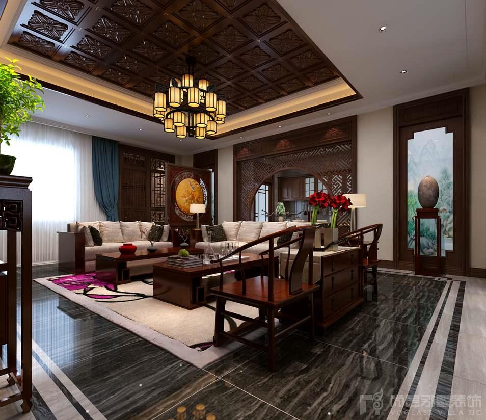 自建四合院新中式客厅别墅装修效果图