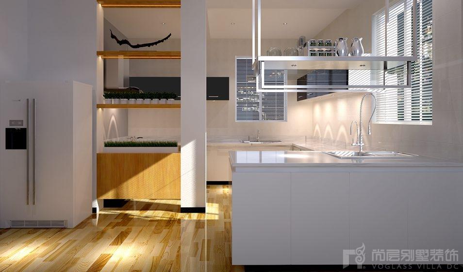 山作庭院现代北欧厨房别墅装修效果图