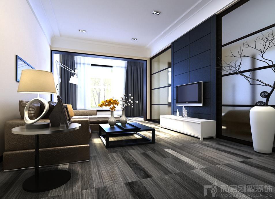 蓝园新中式客厅别墅装修效果图