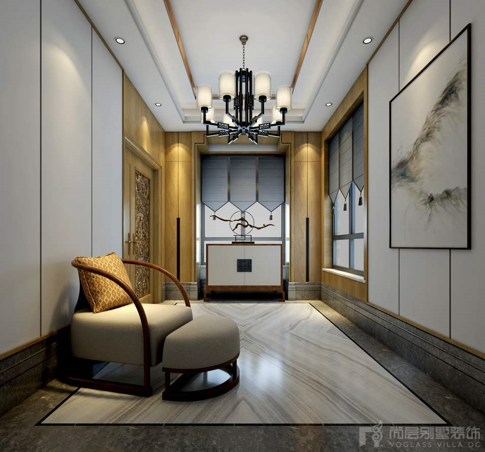 本案 海棠湾别墅装修定义为新中式风格