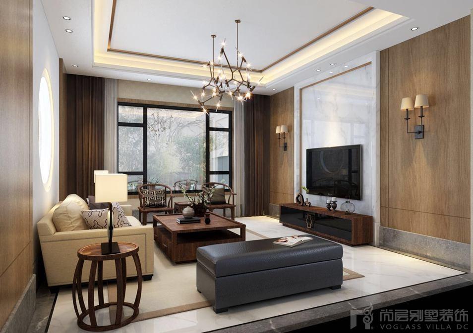 海棠湾新中式客厅别墅装修效果图