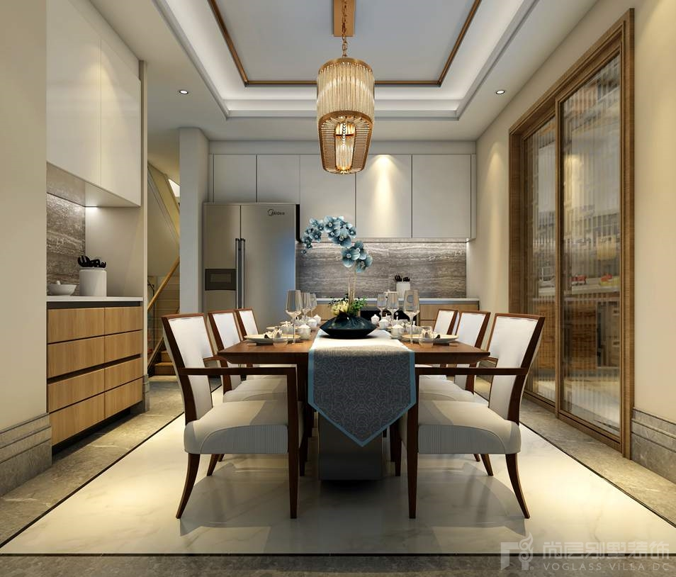 海棠湾新中式餐厅别墅装修效果图