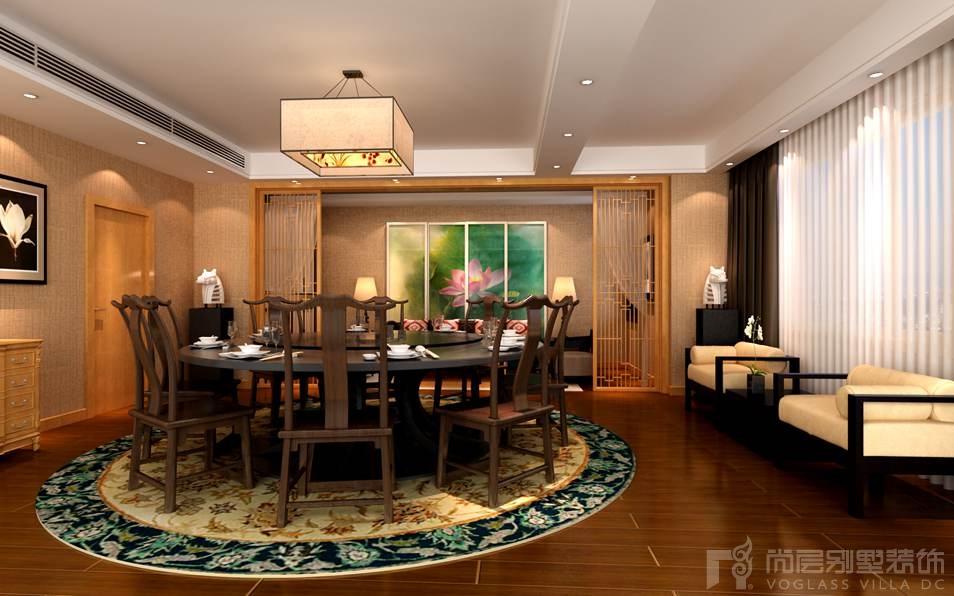 天贵人和新中式餐厅别墅装修效果图
