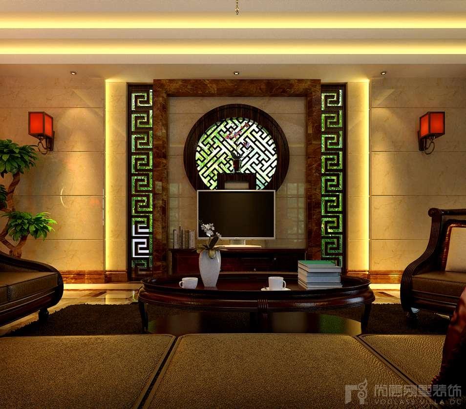 金宝花园混搭客厅别墅装修效果图