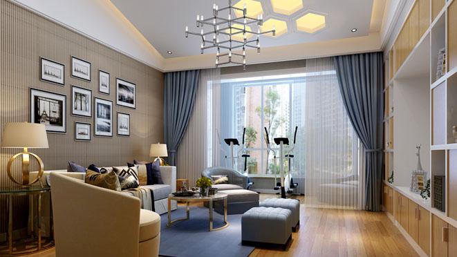 银谷·美泉低奢风格家庭室别墅装修效果图