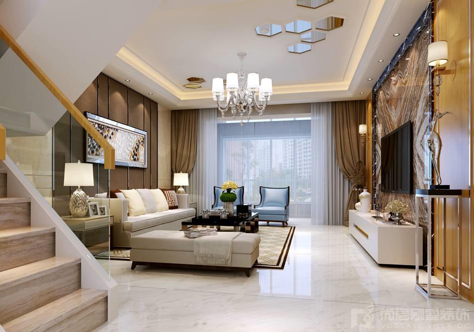 银谷·美泉低奢风格客厅别墅装修效果图
