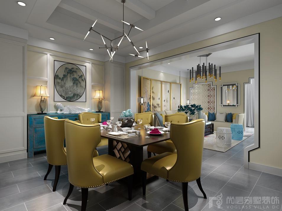 红杉溪谷新中式客餐厅别墅装修效果图